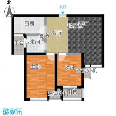 荣盛锦绣花苑78.64㎡两室两厅一卫户型