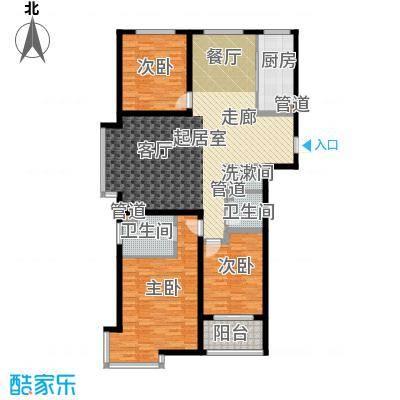 荣盛锦绣花苑139.23㎡三室两厅两卫户型