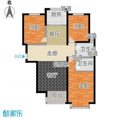 荣盛锦绣花苑131.11㎡三室两厅两卫户型