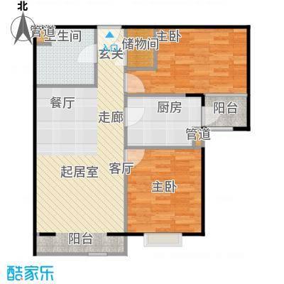 炫彩嘉轩90.08㎡二室二厅一卫户型