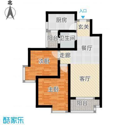 中华坊云岭75.22㎡D1两室两厅一卫户型