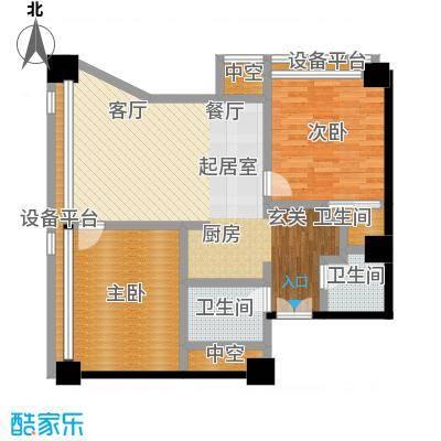 博雅国际中心126.45㎡C户型二室二厅一卫户型