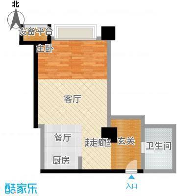 博雅国际中心65.29㎡E户型一室一厅一卫户型