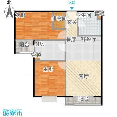 炫彩嘉轩90.23㎡二室二厅一卫户型