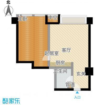 博雅国际中心82.27㎡D户型一室一厅一卫户型