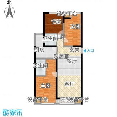 嘉美风尚中心138.73㎡2号楼D户型三室二厅二卫户型