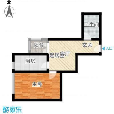 定福庄住宅小区49.83㎡1室1厅1卫1厨户型