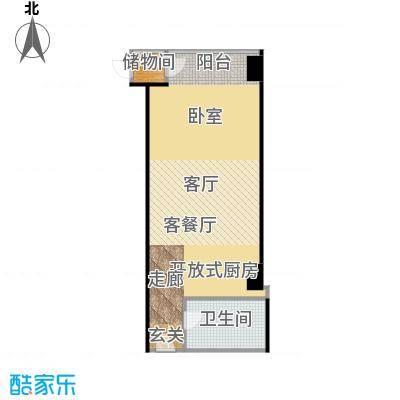 锐创国际中心69.61㎡D一居室户型1厅1卫