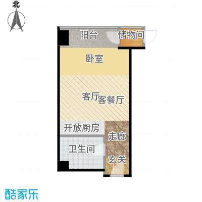 锐创国际中心52.13㎡F一居室户型1厅1卫