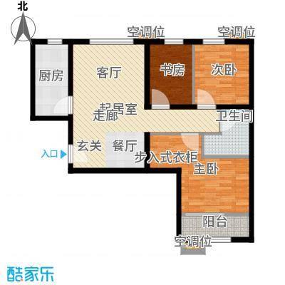首创・悦都汇88.00㎡B户型 两居户型2室1厅1卫