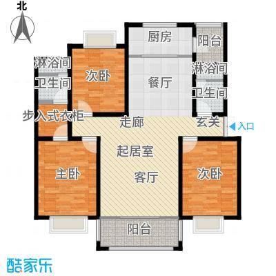 联邦・御景江山142.80㎡二期1号楼1单元、6号楼3单元标准层C4户型3室2厅2卫