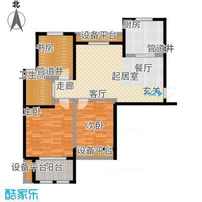 稽山御府天城建筑面积92平米 三室两厅一卫户型3室2厅1卫