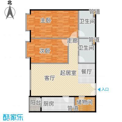 蓝筹名座124.14㎡2室1厅2卫1厨户型
