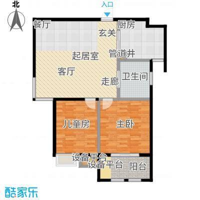 稽山御府天城建筑面积92平米 两室两厅一卫户型2室2厅1卫