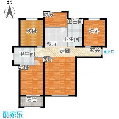 丛台花园三室两厅两卫 131.52平米户型