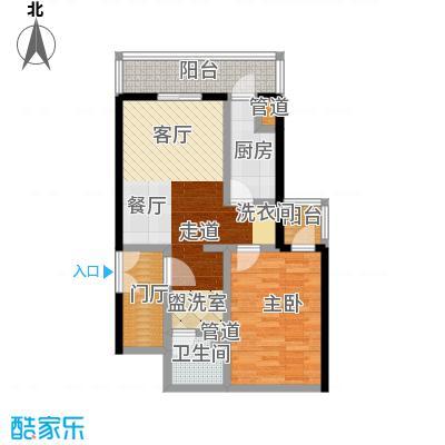 日坛晶华72.78㎡一室二厅一卫户型