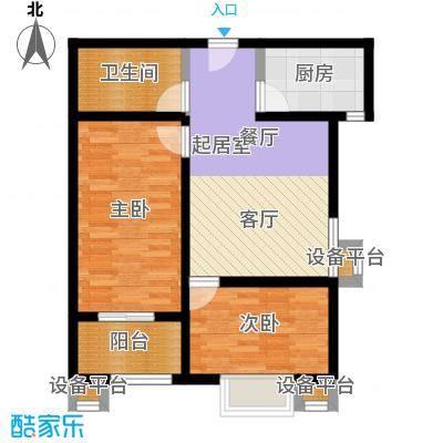 华浩广星源E户型两室两厅一卫约67.38㎡户型