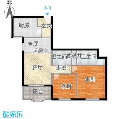 国际友谊花园108.99㎡两室两厅两卫户型