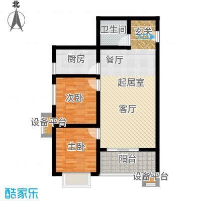 华浩广星源D户型两室两厅一卫约78.86㎡户型