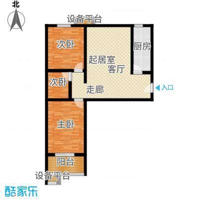华浩广星源J户型两室一厅一卫约88.4㎡户型