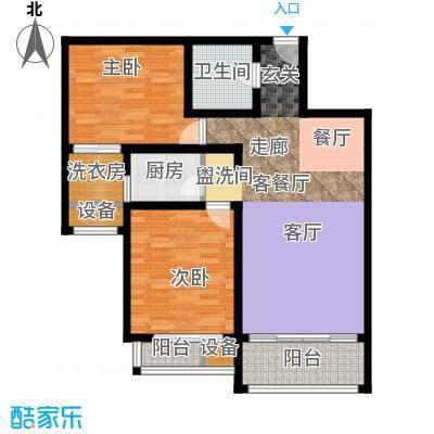 丽水苑98.55㎡1号楼中单元户型2室2厅1卫