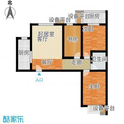 华浩广星源G户型三室两厅一卫约88.3㎡户型