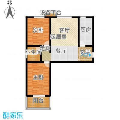 华浩广星源A户型两室两厅一卫月88.87㎡户型
