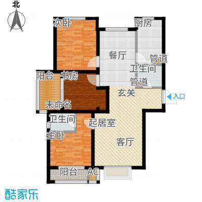 安联水晶坊3室2厅2卫 121.32平米户型