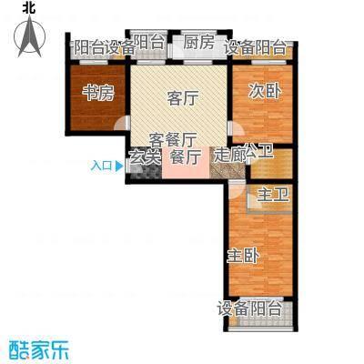 丽水苑128.30㎡2号楼端单元户型3室2厅2卫