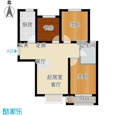 安联水晶坊3室2厅1卫 97.9平米户型