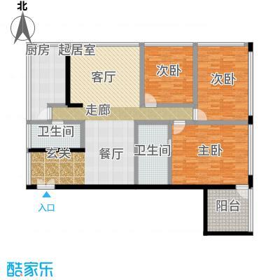 C-PARK西派国际公寓199.71㎡4号楼K户型三室二厅二卫户型