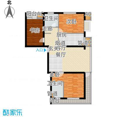嘉美风尚中心143.38㎡2号楼T户型三室二厅二卫户型
