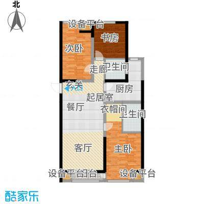嘉美风尚中心138.73㎡2号楼C户型三室二厅二卫户型