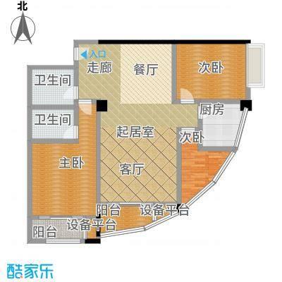 龙旺伯乐佳园户型3室2卫1厨