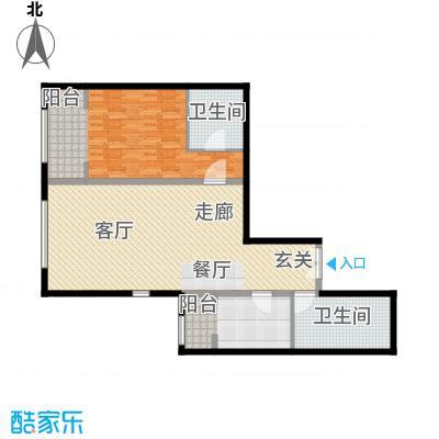 泰达时代中心公寓113.97㎡H户型1室2厅1卫户型