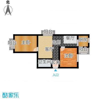 天润东方绿城两室两厅一卫户型