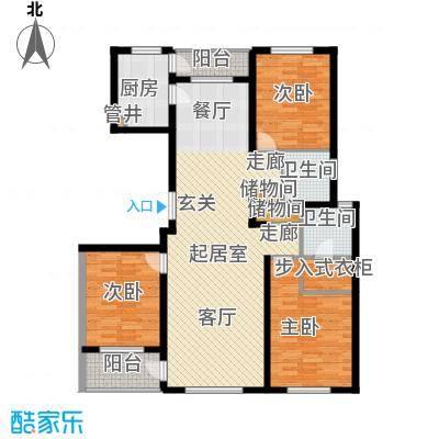 美伦堡2#B-2户型三室二厅二卫户型