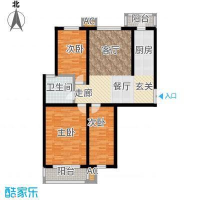 枫丹美庐三室两厅一卫 105㎡户型