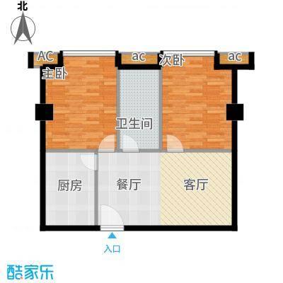 中华大厦77.85㎡两室一厅一卫户型