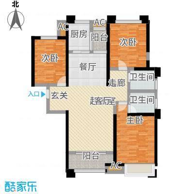 美的城3室2厅2卫 约138平米户型
