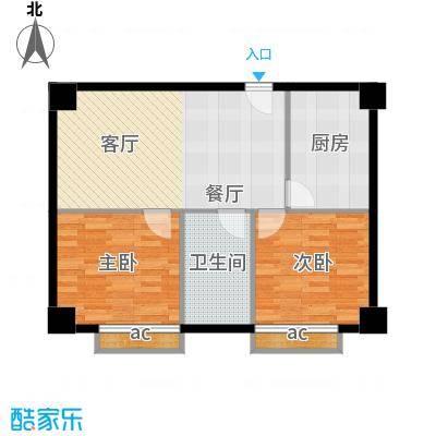 中华大厦71.50㎡两室一厅一卫户型
