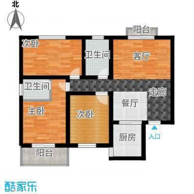 天润东方绿城三室一厅两卫户型