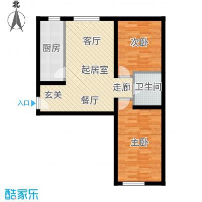 当代采育满庭春MOMAA户型两室两厅一厨一卫87平米户型2室2厅1卫