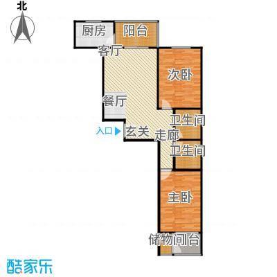 兴业苑B3户型 105.50平米 2居2厅2卫户型