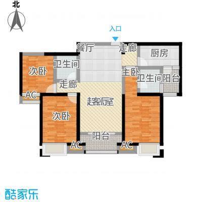 美的城3室2厅2卫 约128平米户型