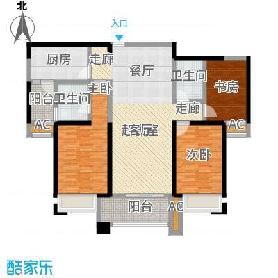 美的城3室2厅2卫 约131-135平米户型