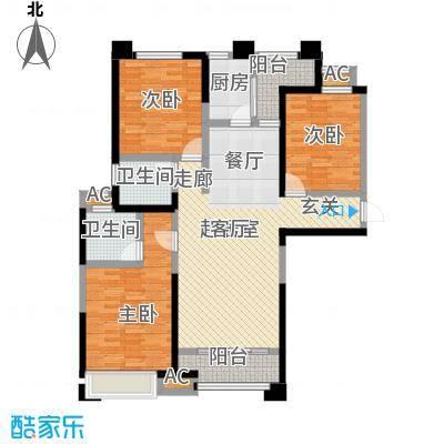 美的城3室2厅2卫 约137平米户型