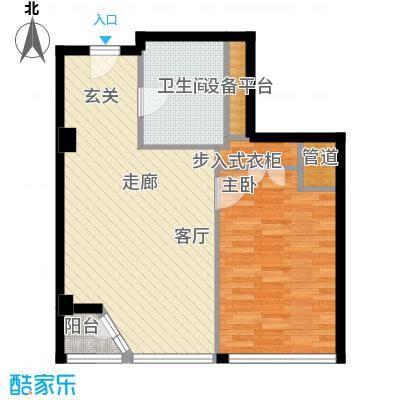 港湾国际60.00㎡1室1厅1卫1厨户型