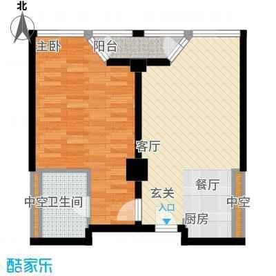 港湾国际80.00㎡一室一厅户型