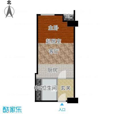 工体3号48.71㎡一室一厅一卫户型